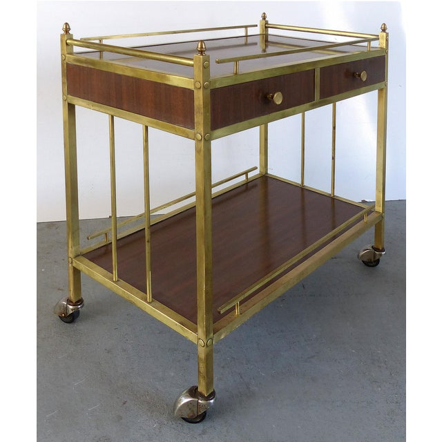 Bi-Level Brass Rolling Bar Trolley W/ Wood Accents - Image 3 of 10