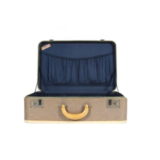 Vintage Suitcase With Navy Blue Interior
