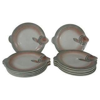 French Sarreguemines Fish Plates - Set of 12