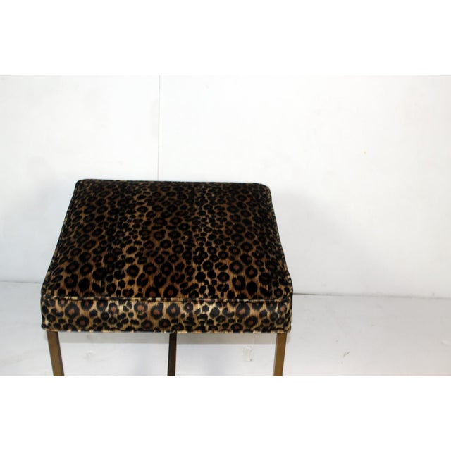 Vintage 1970s Brass Base & Leopard Seat Bench - Image 4 of 4