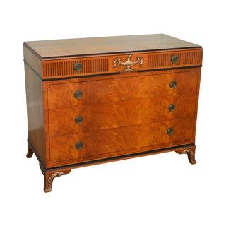 1930s Georgian Adams Style Crotch Walnut Chest of Drawers Dresser by Landstrom