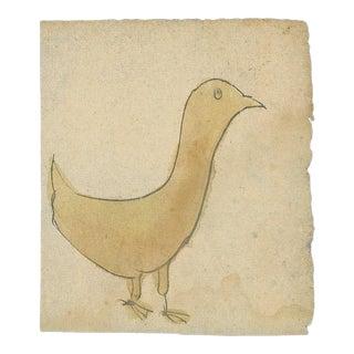 LANCASTER PENNSYLVANIA GERMAN WATERCOLOR OF A YELLOW BIRD, CA 1840-60