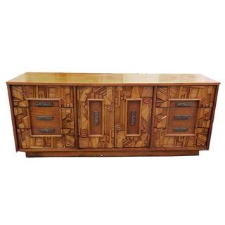 Paul Evans Style Vintage Brutalist Wood Credenza