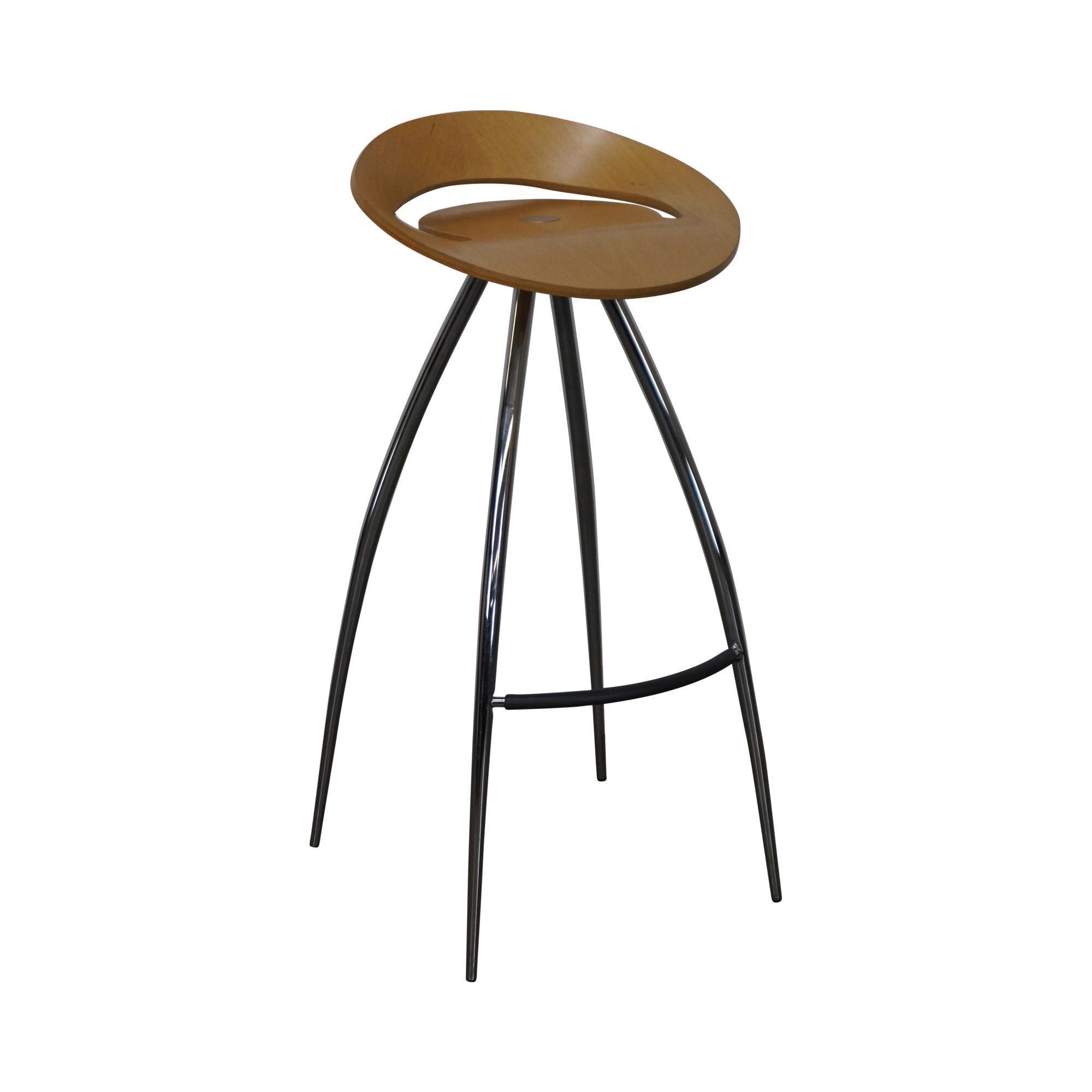magis lyra tecnotubi chrome base bent wood stool