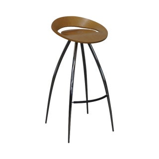 Magis Lyra Tecnotubi Chrome Base Bent Wood Stool