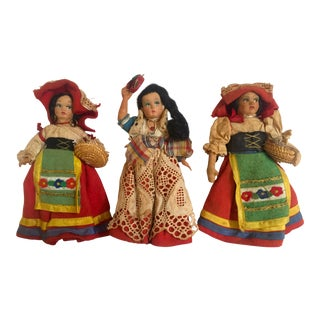 1940's Vintage Handcrafted Italian Peasant Souvenir Dolls- Set of 3