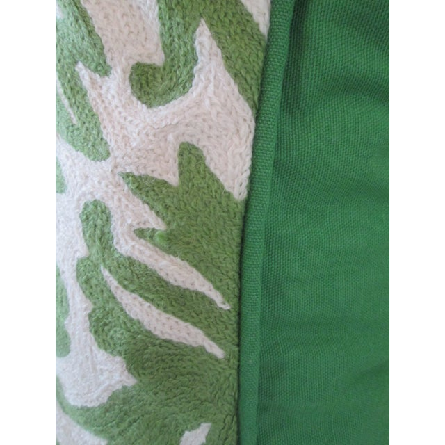 Green Crewel Embroidered Pillow - Image 4 of 5