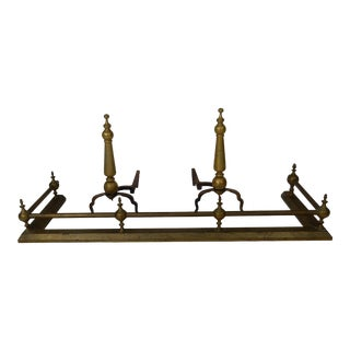 American Federal Style Fireplace Andirons & Fender - Set of 3