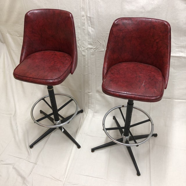 Mid-Century Cosco Swivel Bar Stools - A Pair - Image 2 of 11