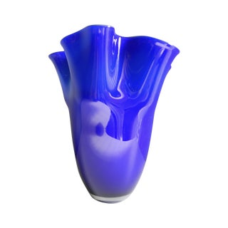 Cobalt Blue and Green Handkerchief Art Vase