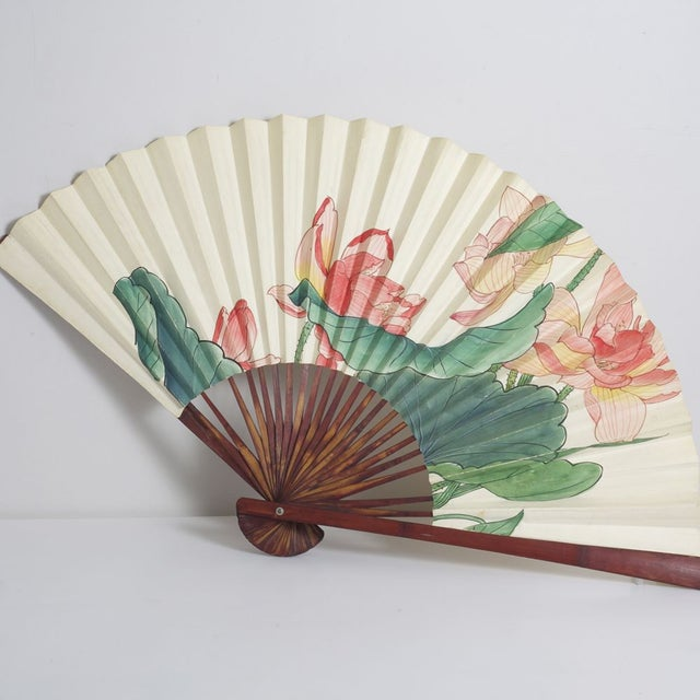 Image of Large Floral Asian Fan