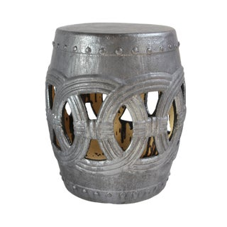 Charcoal Ceramic Rope Garden Stool