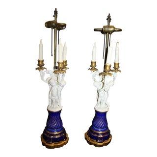Pair of 19th Century Cherub Sevres Candelabra Lamps