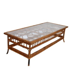 Long Bamboo Wood Glass Top Coffee Table