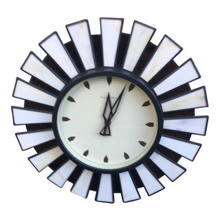 Robert Abbey Mid-Century Stained Glass Starburst Wall Clock