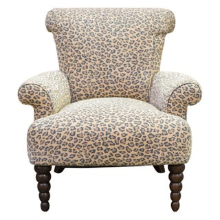 Leopard Print Rolled Back Arm Chair