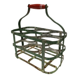 Vintage French Green Metal Bottle Carrier