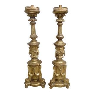 19th Century Italian Giltwood Candlesticks
