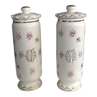 Antique Cream Colored Ginger Jars - A Pair