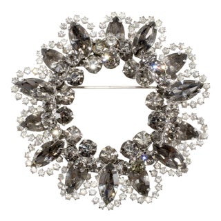 60s Gray & Clear Rhinestone Brooch