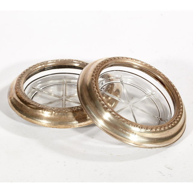 1950's Sterling Silver & Glass Coasters, Pair - Image 2 of 5