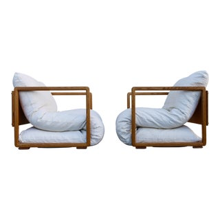 Solid Wood Mid Century Japanese Futon Lounge Chairs - a Pair