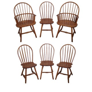 Hunt Country Furniture Oak Windsor Dining Chairs - Set of 6