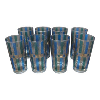 Blue & Green Georges Briard Bar Glasses - Set of 8