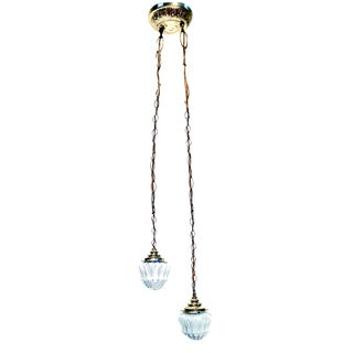 Vintage Frosted Diamond Cut Double Pendant Hanging Lamp