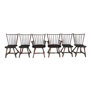 Hunt Country Furniture Oak-Pine Birdcage Style Dining Chairs - Set of 6