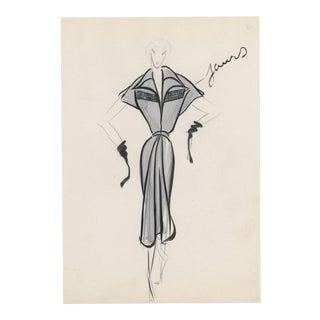 Original French Fashion Drawing