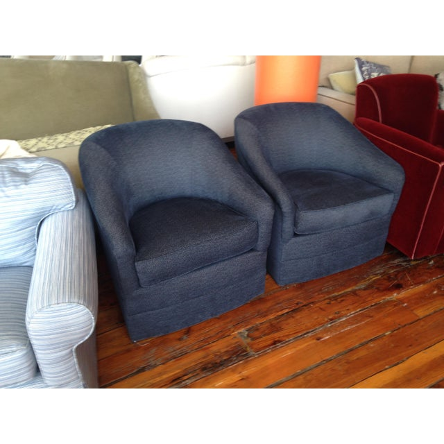 Navy Club Chairs - A Pair - Image 2 of 3