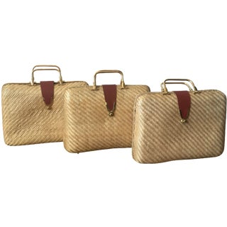Vintage Basket Weave Bags - Set of 3