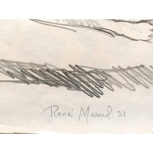 1951 Mid Century Rene Marcil Nude Female Drawing - Image 3 of 4