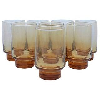 Amber Pedestal Glasses - S/8
