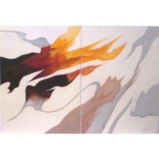 "Robert Lawson (B. 1920, American) ""Embrace II & III"" Oil Painting Diptych"