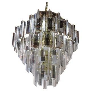 Mid-Century Lucite & Glass Pendant Chandelier