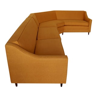 Mid-Century Modern Orange Tweed Two-Piece Sectional