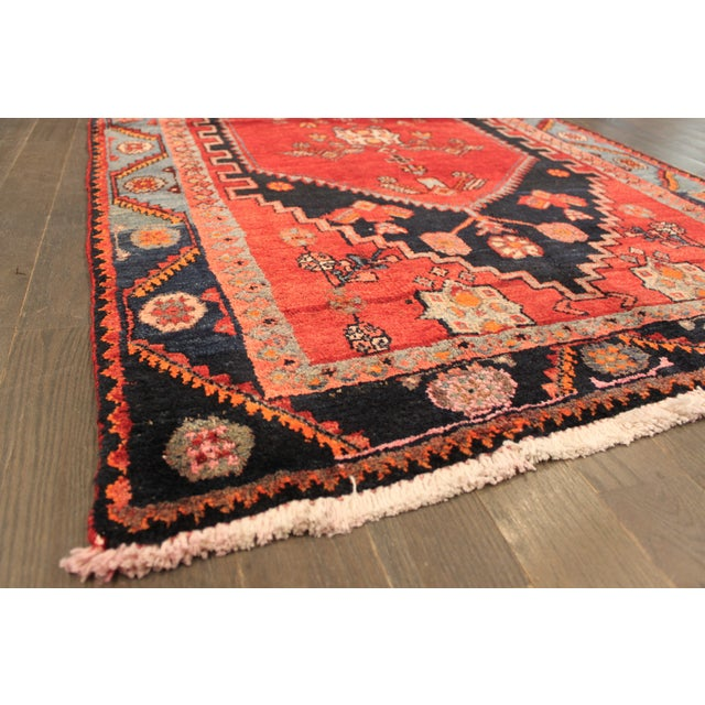 "Vintage Red & Blue Persian Rug - 3'7"" X 6'3"" - Image 3 of 4"