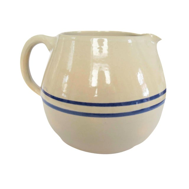 Vintage Blue White Striped Stoneware Pottery Crock Pitcher - Image 1 of 4