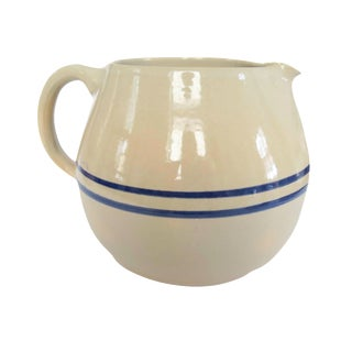 Vintage Blue White Striped Stoneware Pottery Crock Pitcher