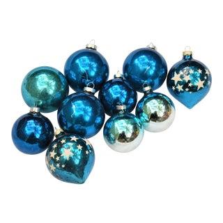 Vintage Blue Glass Ornaments - Set of 10