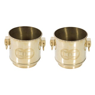 Pair of Polished Brass Chinoiserie Round Planters
