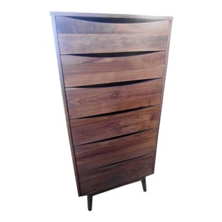 Mid-Century Style Walnut 6-Drawer Chest of Drawers