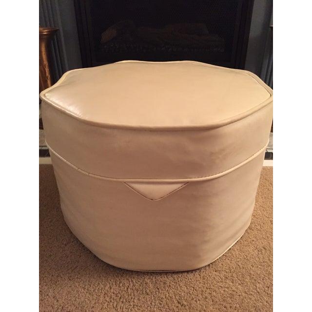 Mid century white ivory vinyl hassock chairish for Small storage hassocks