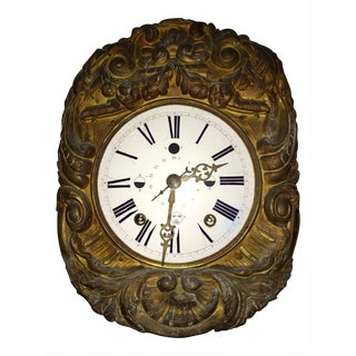 Antique Morbier Wall Clock With Moon Phases,