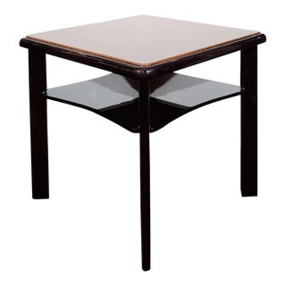 Streamlined American Art Deco Square Top Two-Tier Occasional Table
