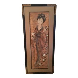 Framed Painting of a Geisha on Wood