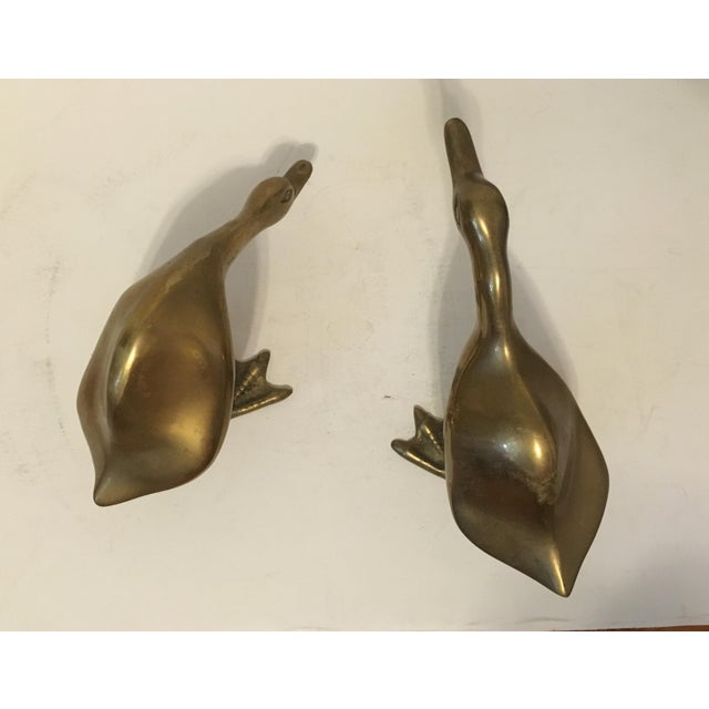 Image of Mid-Century Brass Ducks - A Pair