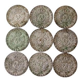 Vintage Louis XVI 1788 Replica Coin Coasters - Set of 9